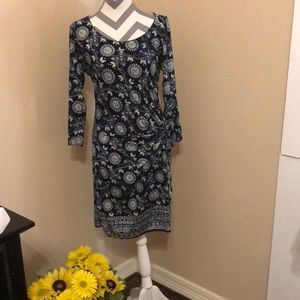 Max Studio size large blue and white dress